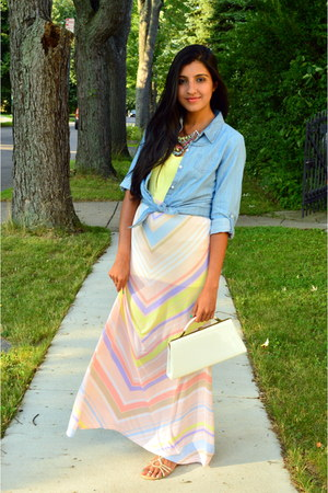 light pink maxi skirt sears skirt - light blue chambray Target shirt