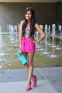 Turquoise-blue-clutch-thrifted-bag-hot-pink-high-waisted-forever-21-shorts