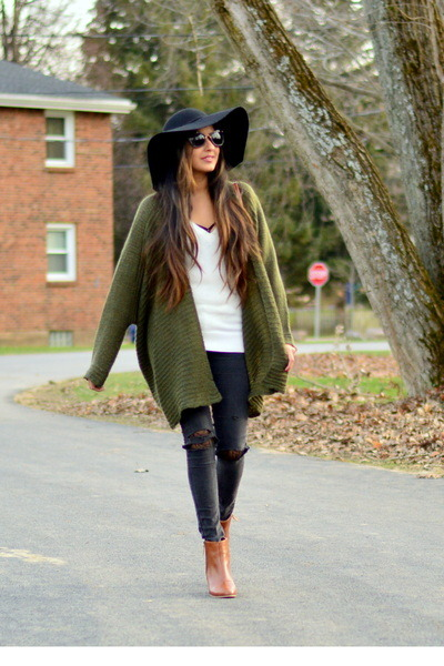 Black DIY Distressed Forever 21 Jeans | u0026quot;Olive Cardigan ...