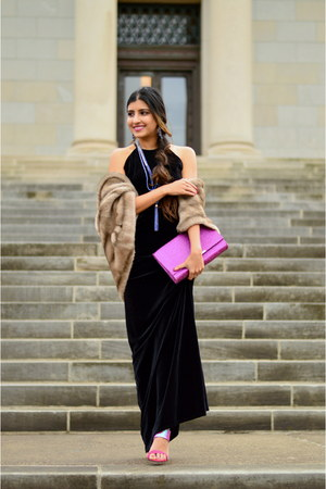 black velvet maxi alloy dress