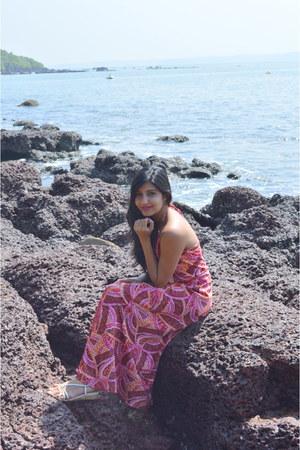 hot pink silk maxi thrifted dress