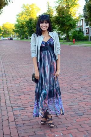 maxi thrifted dress - dark brown Moddeals heels