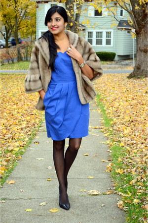 light brown faux fur thrifted cape - blue eShakti dress