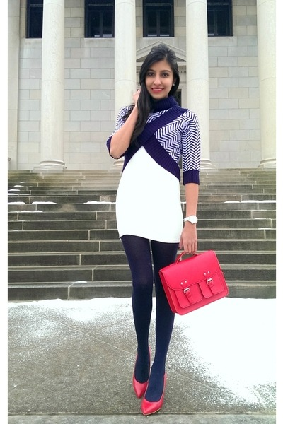 navy cropped chevron Wet Seal sweater - red satchel H&M bag