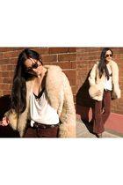 beige vintage coat - white stylestalker t-shirt - red Ebay pants - black vintage
