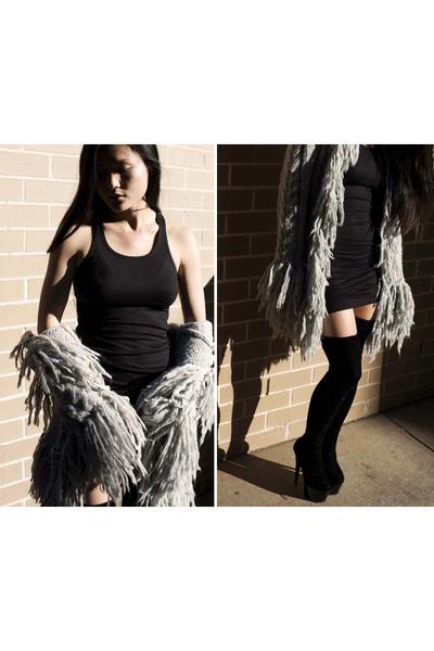 black Ebay boots - black stylestalker dress - silver Tree of life coat