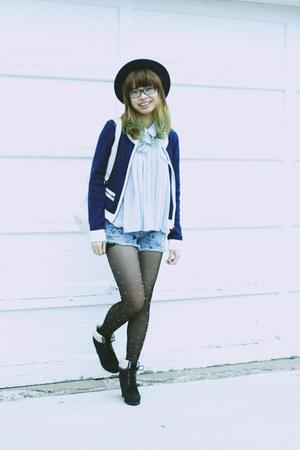 Forever21 blouse - handmade print jeans - hat - hearts print Forever 21 leggings