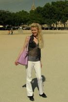 amethyst bag - black thrifted vintage top - white La halle pants