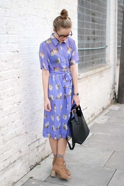 periwinkle chiffon printed thrifted dress