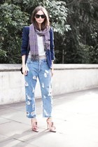 light blue diy ripped Secondhand jeans