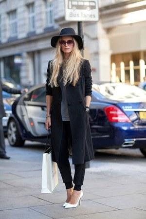 black long basic thrifted coat