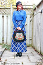 Black-embroidered-vintage-bag-blue-silk-joe-fresh-top