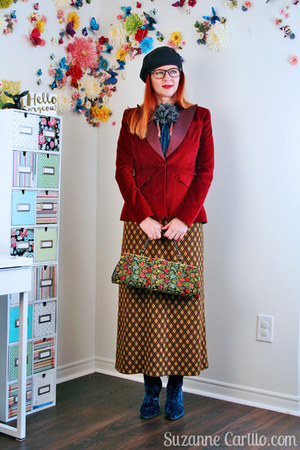 black vintage bag - ruby red velvet Target blazer