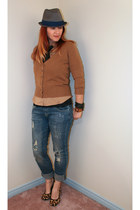 heather gray Hurley hat - navy Ethanol jeans - bronze H&M shirt