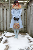 burnt orange vintage dress - light blue thrifted boots