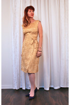 gold gold brocade vintage dress - deep purple suede Nine West pumps