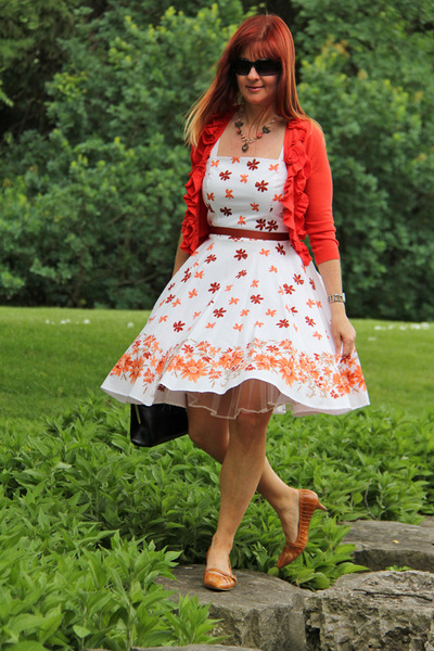 white rickis dress - carrot orange Anthropologie cardigan - bronze TJ Maxx pumps