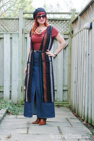 burnt orange long knit vest thrifted vest - burnt orange leather thrifted boots