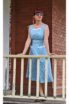 light blue 1940s vintage dress - brown miss mood shoes