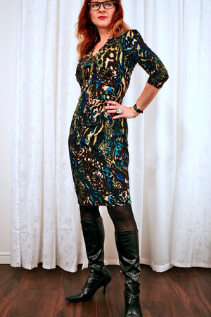 black TJ Maxx boots - dark brown patterned Kasper dress
