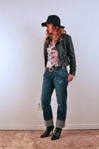 black Target hat - blue boyfriend AG jeans - black H&M jacket