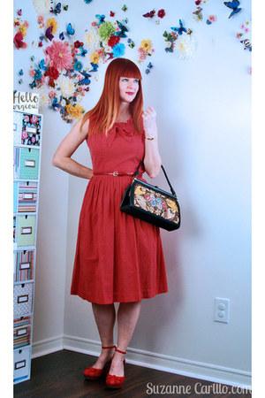 red 1950s dress vintage dress