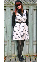 eggshell Anthropologie dress - black H&M sweater - Rockport heels