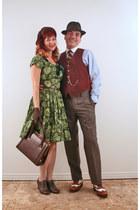 green vintage dress - brown vintage hat - dark brown vintage bag