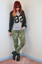olive green camo Gap jeans - black booties Call it Spring boots