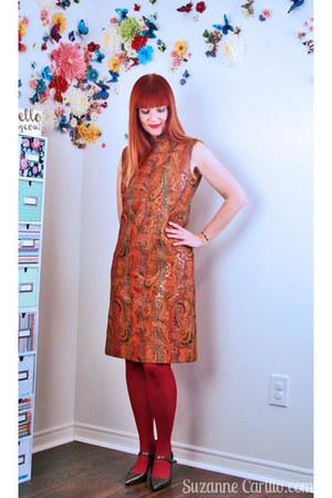 carrot orange vintage 1960s vintage dress