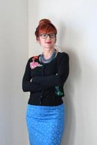 black embroidered Anthropologie sweater - blue Anthropologie skirt