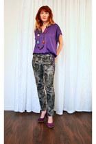 purple suede BCBG heels - gray floral print Mavi jeans - deep purple BCBG blouse