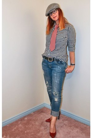 black gingham Old Navy shirt - blue TJ Maxx jeans - ruby red Nine West heels