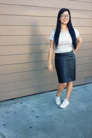 black H&M skirt - silver rebel tee Old Navy t-shirt - ivory Converse sneakers