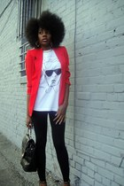 white MALA New York t-shirt - red talbots jacket - black nike leggings