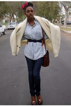 beige mens Axiom sweater - navy skinny Mynk jeans - light blue mens Lee shirt