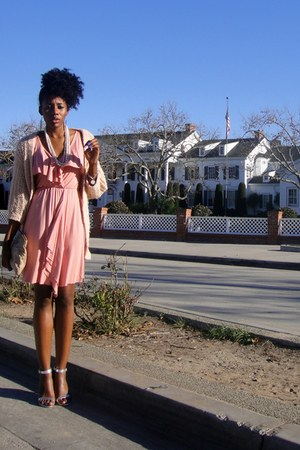 peach cocoon Frenchi sweater - salmon Rachel Pally dress - silver Love D heels