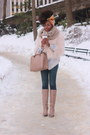 Tan-zara-boots-light-pink-faux-fur-zara-jacket