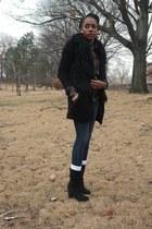 black H&M sweater - dark gray suede ecote boots