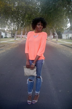 light orange H&M sweater - blue Paper Denim & Cloth jeans - silver Love D heels