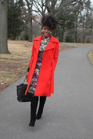 black Kelsi Dagger boots - green vintage dress - red vintage coat