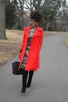 black Kelsi Dagger boots - green vintage dress - red vintage coat