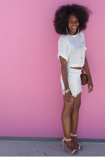 white cropped H&M top - beige Mossimo heels - white lace H&M skirt