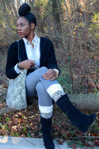 cream ecote bag - charcoal gray thrifted jeans - black H&M sweater