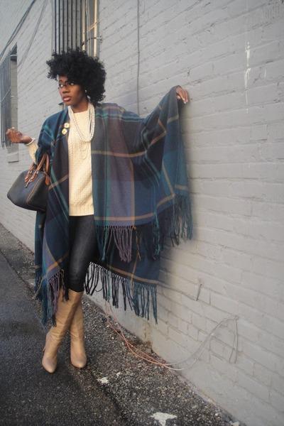 dark khaki Zara boots - cream H&M sweater - navy dooney  bourke vintage bag