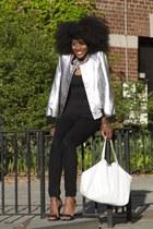 white Hayden-Harnett bag - black skinny jeans H&M jeans