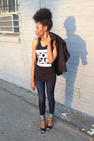 black H&M blazer - navy cotton on jeans - black The God Can Store t-shirt