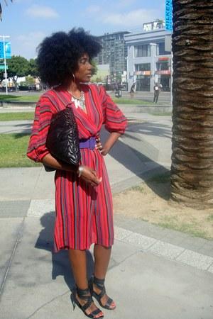 red vintage dress - black Antonio Melani bag - purple H&M belt