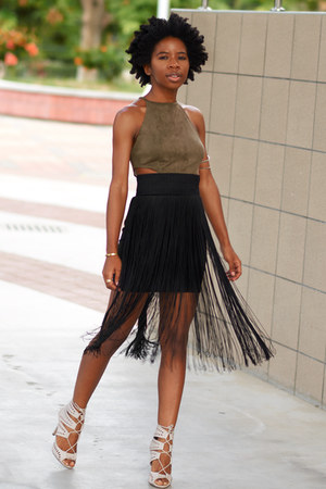 black fringe H&M skirt - dark khaki suede Missguided top
