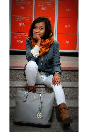 grey next blazer - brown H&M boots - white Levis jeans - grey Michael Kors bag